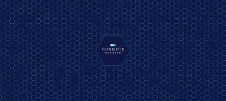 abstract technologie groen en blauw hexagon patroon op donkerblauwe achtergrond. futuristisch dynamisch patroonontwerp. modern eenvoudig geometrisch patroon. vector illustratie