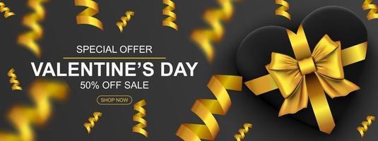 Valentijnsdag verkoop webbanner. realistische geschenkdoos met gouden strikhart en confetti. vector