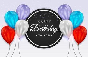 gelukkige verjaardag met realistische ballonnen en glitter confetti voor wenskaart, feestbanner, jubileum.