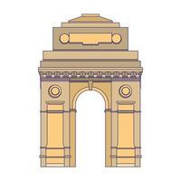 Indiase gateway embleem gebouw symbool geïsoleerde blauwe lijnen