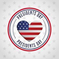 gelukkige president dag viering poster met zegel van de VS.