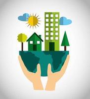 milieuvriendelijke poster met stadsgebouwen
