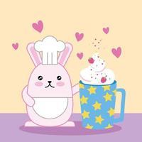 kawaii schattig klein konijn met aardbeiensmoothie