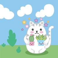 kawaii schattige kleine kat met planten