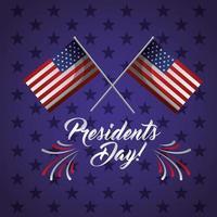 gelukkige presidentendag viering poster met vlaggen van de VS.