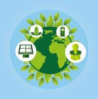milieuvriendelijke poster met planeet aarde en pictogrammen