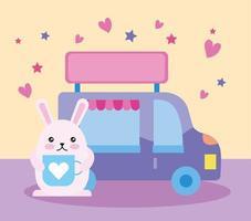 schattig klein konijn met voedselwagen, kawaiikarakter
