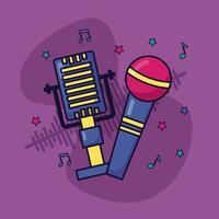 retro microfoon geluid muziek kleurrijke achtergrond vector