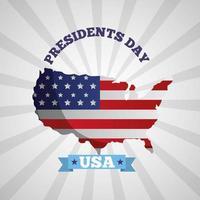 gelukkige presidentendag viering poster met vlag van de VS in kaart