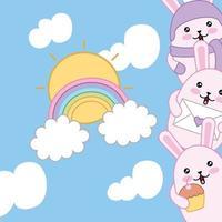 schattige kleine konijnen met regenboog, kawaiikarakters