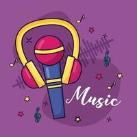 microfoon en koptelefoon muziek kleurrijke achtergrond vector