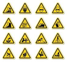 waarschuwing gevaar symbolen labels ondertekenen isoleren op witte achtergrond