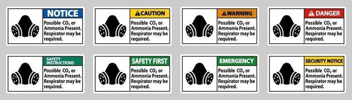 pbm teken mogelijk co2 of ammoniak aanwezig, ademhalingsmasker kan nodig zijn vector