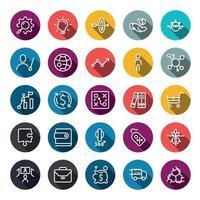 zakelijke marketing online of financieel investeringsvoordeel of rendement pictogrammen met omtrek op de kleur van de cirkel en lange schaduw. vector infographic.