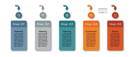 5 stappen voor presentaties in business, organisatie, marketing en educatie by design square. infographic ontwerp.