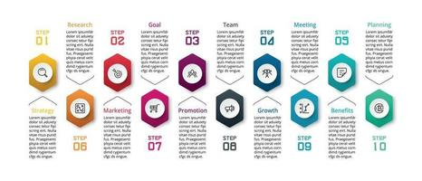 10 stappen om werkprocessen te beschrijven, vergaderingen te plannen, resultaten uit te voeren en samen te vatten, inclusief rapportage van resultaten via hexagonaal ontwerp, vectorinfographics.
