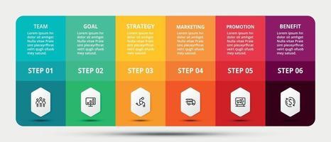 presentatie door middel van vierkante en rechthoekige ontwerpen helpt de wondplaatsing uit te leggen en informatie te presenteren door een 6-stappen infographic vector.