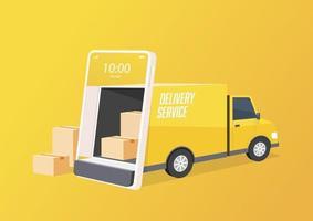 bestelwagen opent de deur vanuit het gsm-scherm. online bezorgserviceconcept. slimme logistiek, vrachtverzending en vrachtvervoer.