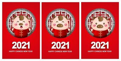 gelukkig chinees nieuwjaar 2021 wenskaarten, jaar van de os.