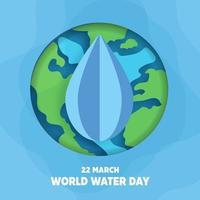 wereld water dag achtergrond in papier gesneden stijl.