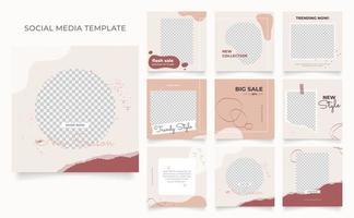 sociale media sjabloon banner blog mode verkoop promotie. volledig bewerkbare vierkante postframe puzzel organische verkoop poster. roodbruine vector aquarel achtergrond