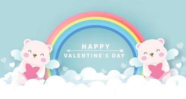 Valentijnsdag wenskaart met schattige cupido beren en regenboog.