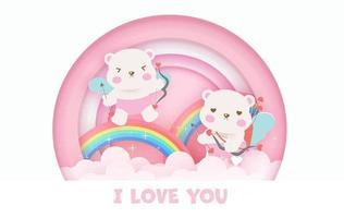 Valentijnsdag wenskaart met schattige cupido beren en regenbogen.