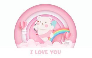 Valentijnsdag wenskaart met schattige cupido beer en regenboog.