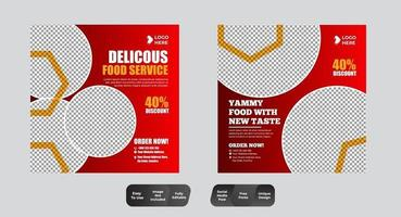 restaurant eten sociale media banner post ontwerpsjabloon set