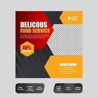 eten en restaurant sociale media post ontwerpsjabloon vector