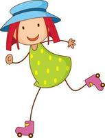 een meisje met hoed stripfiguur in hand getrokken doodle stijl