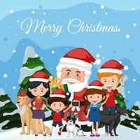 santa en gelukkig familielid op Kerstmis achtergrond vector