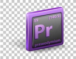 praseodymium scheikundig element. chemisch symbool met atoomnummer en atoommassa.