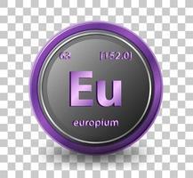 europium scheikundig element. chemisch symbool met atoomnummer en atoommassa.