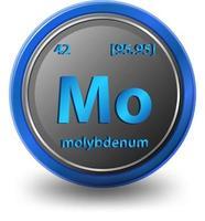 molybdeen scheikundig element. chemisch symbool met atoomnummer en atoommassa.