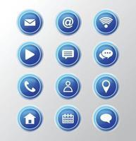 neem contact met ons op knoppen en pictogram ontwerp. vector