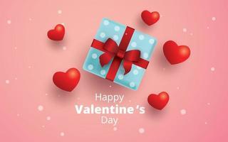 gelukkige Valentijnsdag, geschenkdoos en harten achtergrond vector