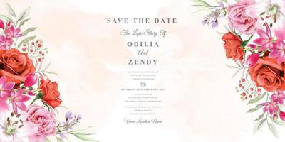 elegante bruiloft uitnodiging sjabloon met mooi bloemdessin vector