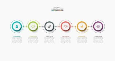 infographic dunne lijn verbindingssjabloon met 6 opties vector