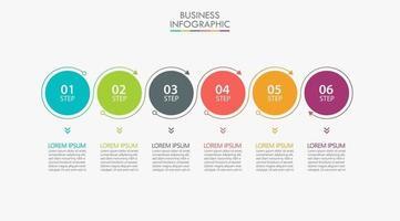 infographic pijl dunne lijn ontwerpsjabloon met 6 opties vector