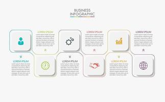 vierkante vorm moderne zakelijke infographic sjabloon met 6 opties vector