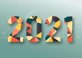 abstracte veelhoekige nummers voor het nieuwe jaar 2021 met textuur. moderne futuristische sjabloon voor 2021 geïsoleerd op technische achtergrond. vector illustratie.