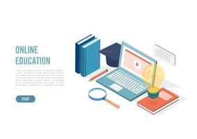 isometrisch online onderwijs, e-learning en cursussen voor volwassenen. taal afstandsschool. moderne 3d vectorillustratie voor website, bannerontwerp, videozelfstudie, bestemmingspagina-sjabloon vector