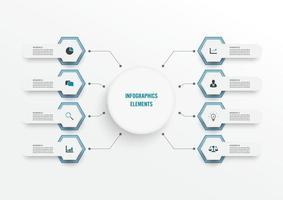 vector infographic sjabloon met 3D-papieren label, geïntegreerde kringen. bedrijfsconcept met 8 opties. voor inhoud, diagram, stroomdiagram, stappen, onderdelen, tijdlijninfographics, workflow, grafiek.