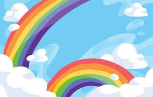 regenboogwolk met blauwe achtergrond vector