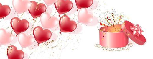 banner van roze en rode hartvormige ballonnen en geschenkdoos vector