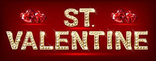 woord van st. valentijn. hartvormige gouden letters met fonkelende hartdiamanten vector