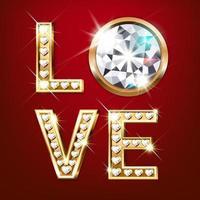 gouden woord liefde met diamanten vector