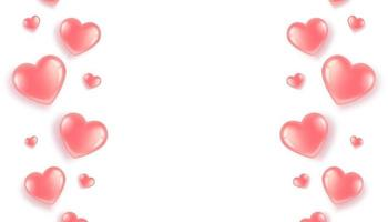 poster met roze hartjes rand op witte achtergrond. briefkaart voor Valentijnsdag en internationale Vrouwendag. in een 3D-realistische stijl.