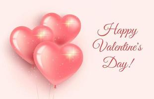 wenskaartbanner voor Valentijnsdag en internationale vrouwendag. drie roze hartvormige ballonnen met glitters. op een roze achtergrond. 3D-realistische stijl.
